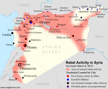 Syrien-Karte (Stand März 2013)