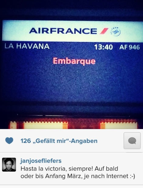 """03. Februar: Jan fliegt nach Kuba für den Dreh von """"Mann ohne Schatten"""""""