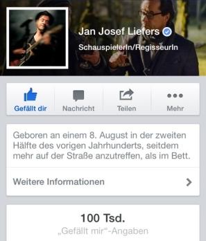 5. Februar: 100.000 Likes auf Jans Facebookseite (Artikel: https://janjosefliefers-fanseite.com/2014/02/06/100-000-likes-eine-gewaltige-fangemeinde/)