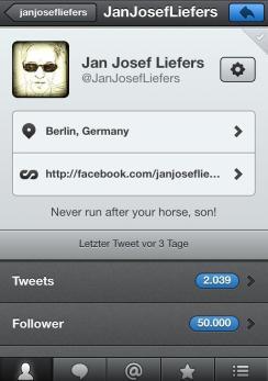 9. Februar: Jan hat 50.000 Follower auf Twitter