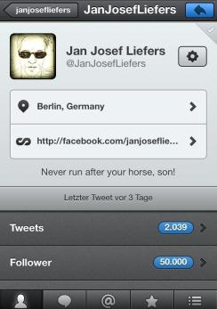 9. Februar: Jan hat 50.000 Follower auf Twitter