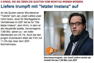 """20. Januar: Premiere von """"Die letzte Instanz"""" im ZDF. Der neue Krimi um Joachim Vernau fährt einen tollen Quotenerfolg ein (Rezension zum Film: https://janjosefliefers-fanseite.com/2014/01/23/die-letzte-instanz-2014/)"""