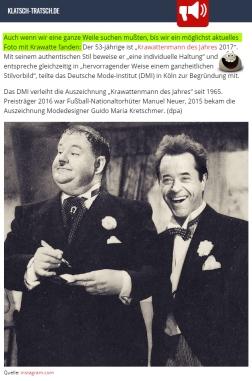 17. Januar: Jan wird zum Krawattenmann des Jahres 2017 gekürt. Was für ein grandioser Unsinn, wo er doch Krawatten hasst!! 🤣 Klatsch-Tratsch.de teilt da genau unseren Humor... man beachte den grün markierten Satz. Und besonders freuen wir uns, dass es unsere kleine Fotomontage sogar in ihren Beitrag geschafft hat. 😎
